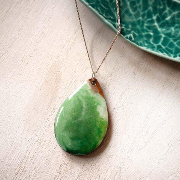 green teardrop pendant