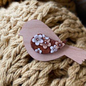 Bird brooch wood - blossom