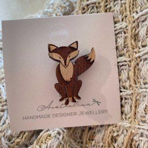 fox satchel pin brooch