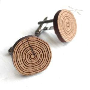 wood cufflink