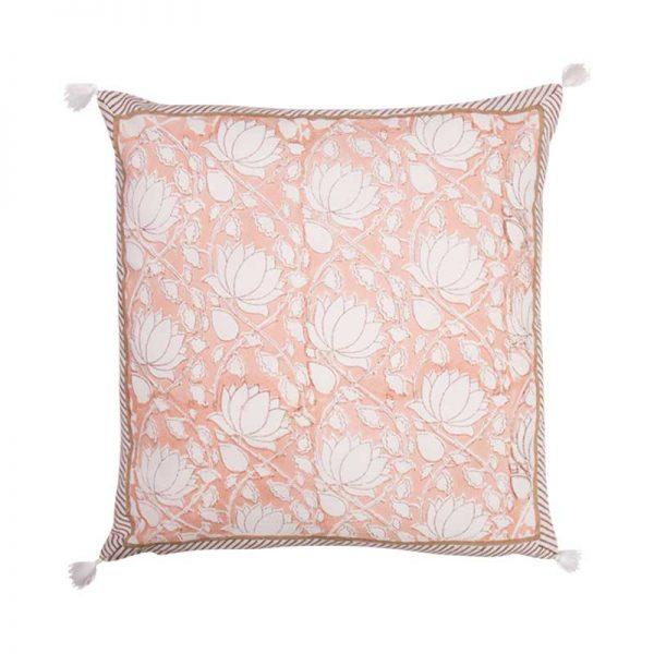 lotus block print cushion