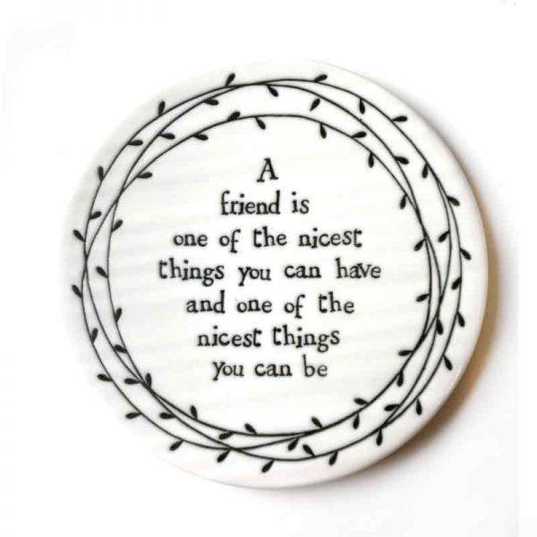 Friend porcelain coaster