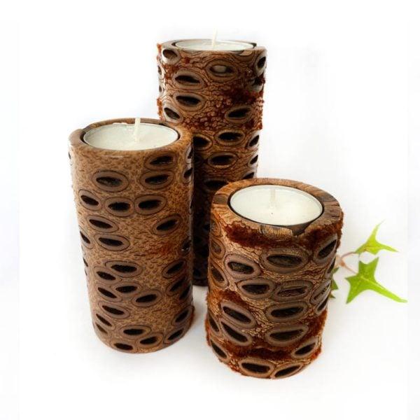 banksia pillar candle holder set