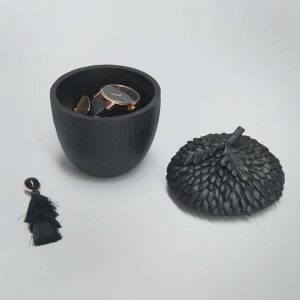 black acorn trinket dish