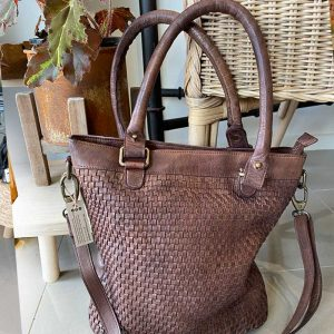 Leather hand bag weave