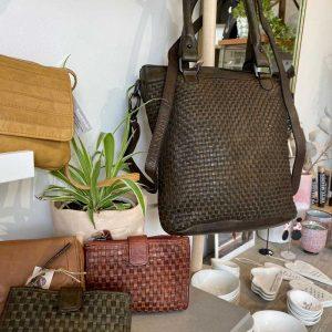 leather bag Weave String design