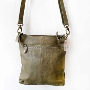 como leather tote bag green