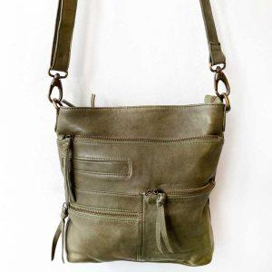 como leather tote bag Olive