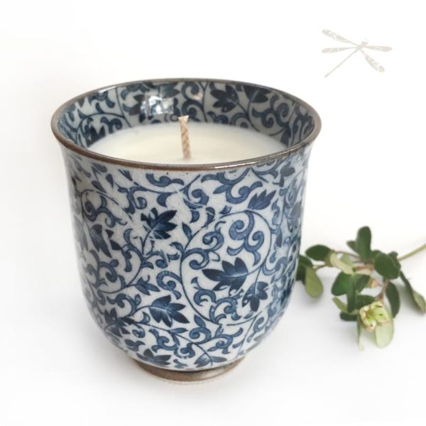 Japanese Tea Cup Candle Blue