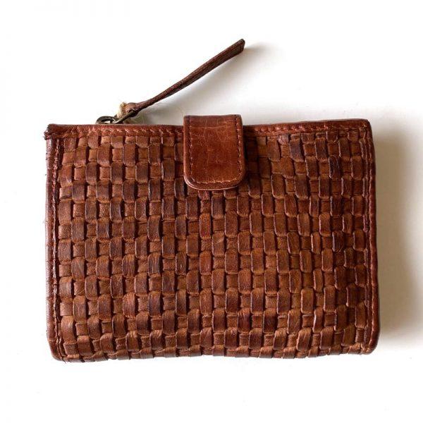 TAN weave leather purse