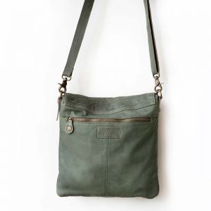 green horizontal detail leather bag