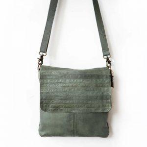 Green leather horizontal detail bag