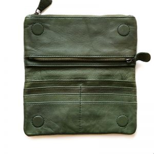 Leather Purse inside pockets green