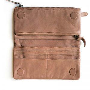 Leather Purse inside pockets blush