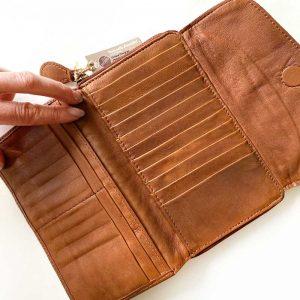 leather purse inside