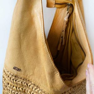 Leather tote mustard