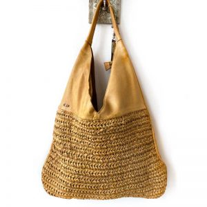 Leather tote Bamboo colour