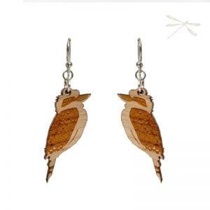 wooden kookaburra earrings