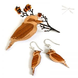 lasercut wood kookaburra earrings nad brooch