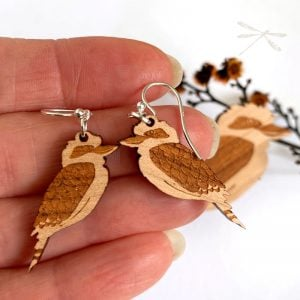lasercut wood kookaburra earrings