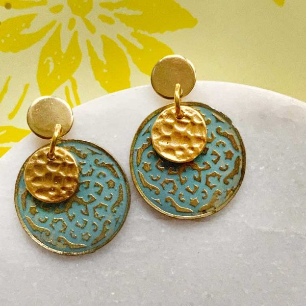 patina and Gold disc earring