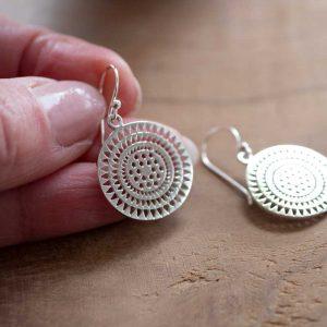 Round Silver Aztec mandala