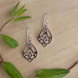 sterling silver lotus earrings