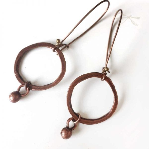 Antique Copper minimalist earrings
