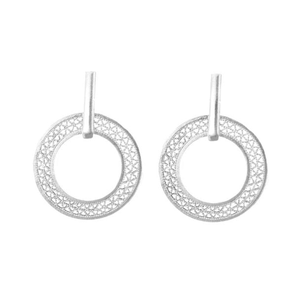 bar drop circle filigree earrings