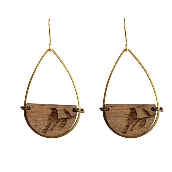 brass teardrop bird earrings