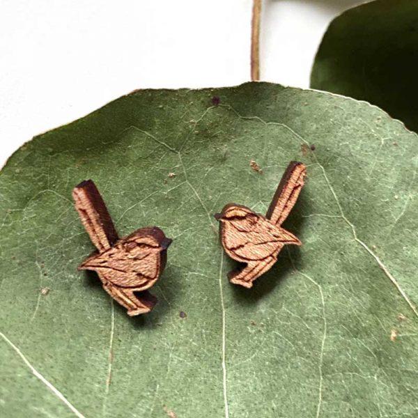 blue wren stud earrings