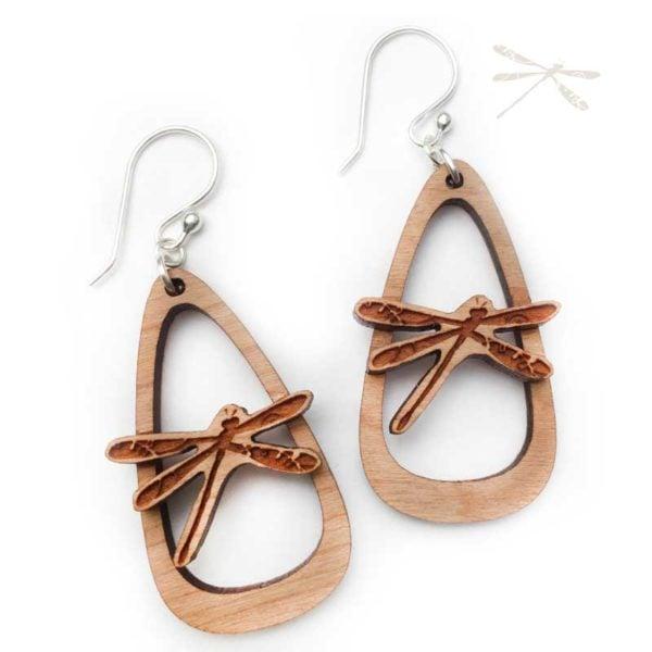 dragonfly earrings wood