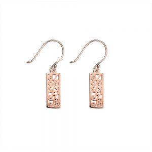 filigree Rose Gold drop earring
