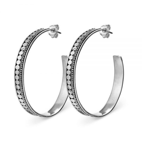 tribal silver hoops
