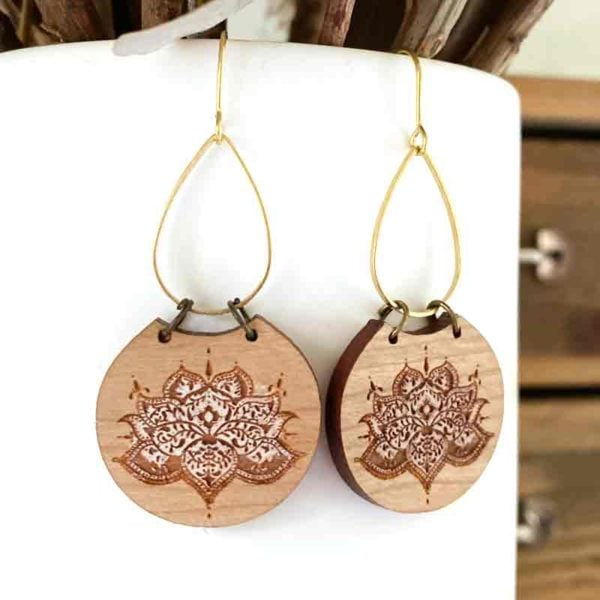 lotus wood earring