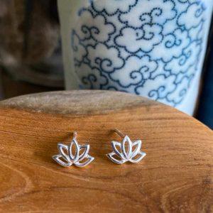 silver lotus studs