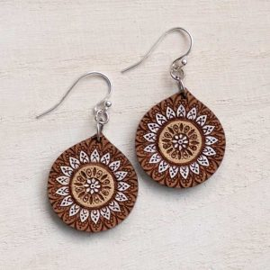 wood mandala earring