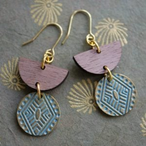 mayan wood earring