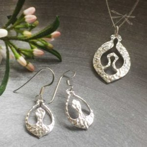 Nurture sterling silver pendant earrings