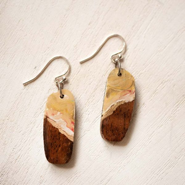 ochre wood earrings