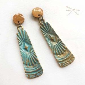 Art deco inspired Patina Stud drop earrings