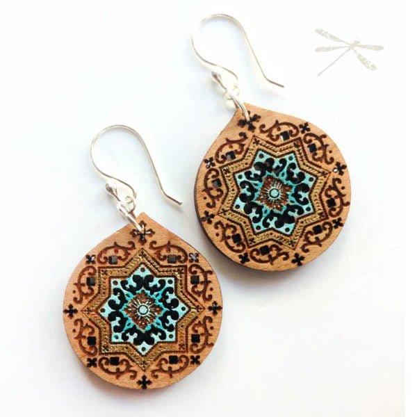 Wood persian earring