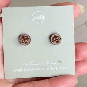 round Lotus stud earrings