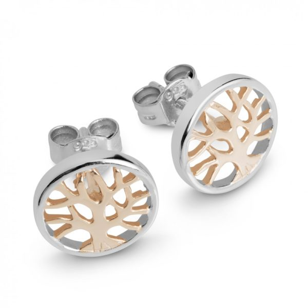 Rose Gold Silver tree life studs