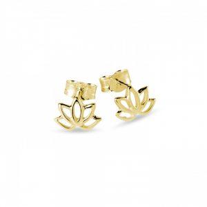 gold lotus earrings