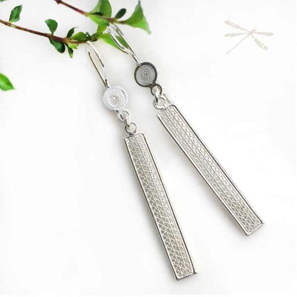 silver bar drop earrings