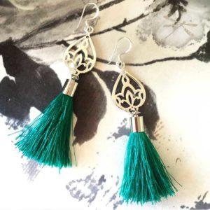 tassel silver earring