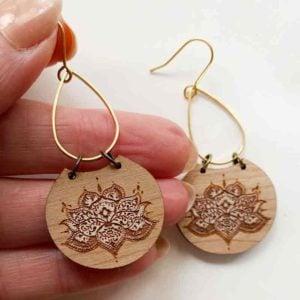 lotus Brass teardrop earring