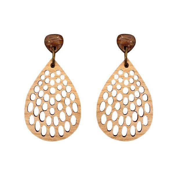peacock wood earrings