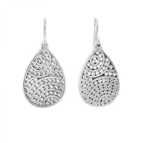 silver teardrop detail earrings